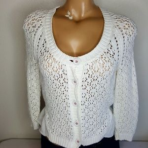 Knitted & knotted white loose knit sweater S